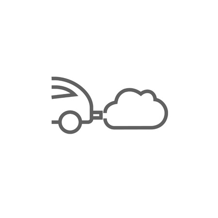 Car spewing polluting exhaust thick line icon with pointed corners and edges for web, mobile and infographics. Vector isolated icon.