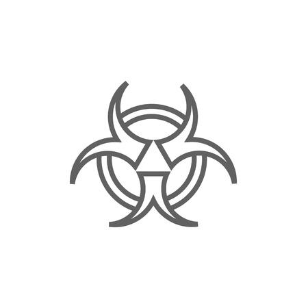 バイオ ハザード標識ライン web、モバイルのアイコンとインフォ グラフィック。ベクトル暗い灰色アイコン白背景に分離されました。 写真素材 - 53723021