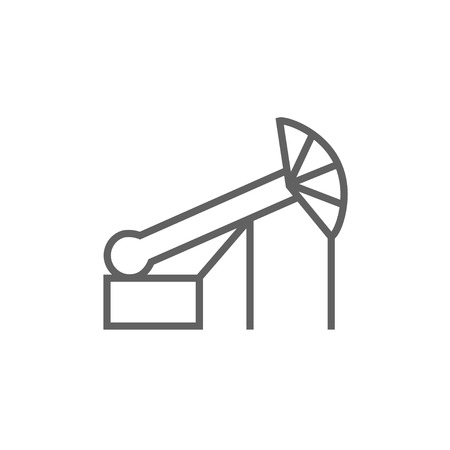 pump jack: Pump jack oil crane thick line icon with pointed corners and edges for web, mobile and infographics. Vector isolated icon.
