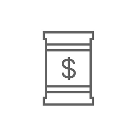Barrel with dollar symbol thick line icon with pointed corners and edges for web, mobile and infographics. Vector isolated icon. 向量圖像
