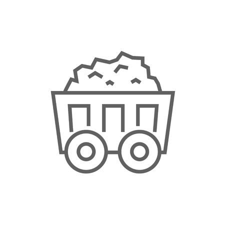 Mining coal cart line icon for web, mobile and infographics. Vector dark grey icon isolated on white background. Иллюстрация