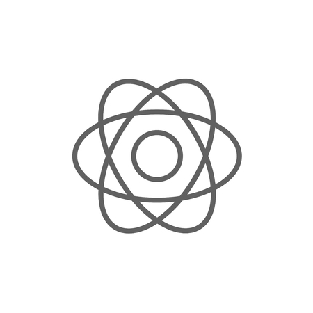 white atom: Atom line icon for web, mobile and infographics. Vector dark grey icon isolated on white background. Illustration
