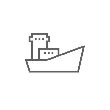 enormous: Cargo container ship thick line icon with pointed corners and edges for web, mobile and infographics. Vector isolated icon.