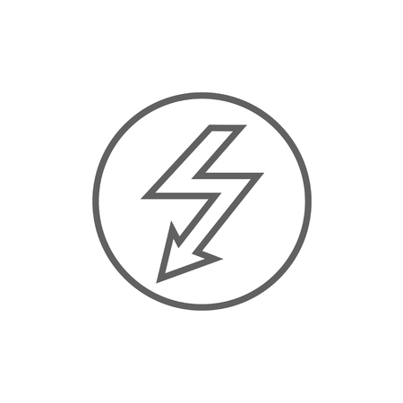 lightning arrow: Lightning arrow going down inside circle line icon for web, mobile and infographics. Vector dark grey icon isolated on white background. Illustration