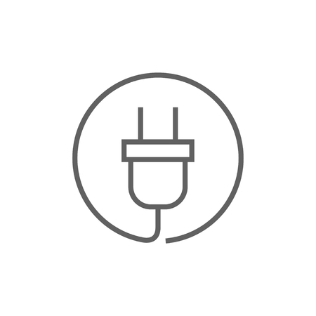 Plug thick line icon with pointed corners and edges for web, mobile and infographics. Vector isolated icon.