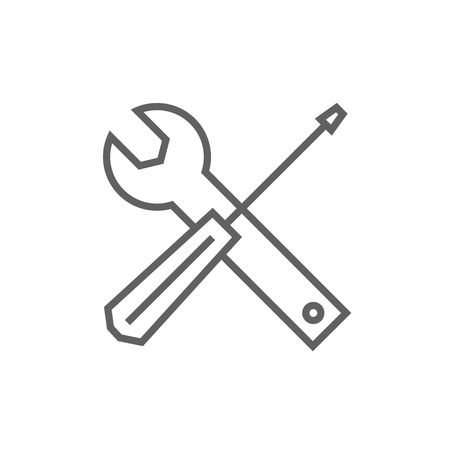 turn the screw: Screwdriver and wrench tools line icon for web, mobile and infographics. Vector dark grey icon isolated on white background.