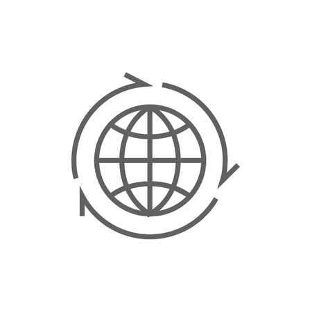 peace movement: Globe with arrows line icon for web, mobile and infographics. Vector dark grey icon isolated on white background.