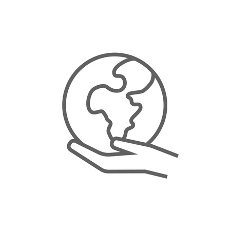 Hand holding the Earth line icon for web, mobile and infographics. Vector dark grey icon isolated on white background.