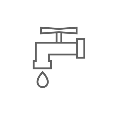 Faucet with water drop thick line icon with pointed corners and edges for web, mobile and infographics. Vector isolated icon.