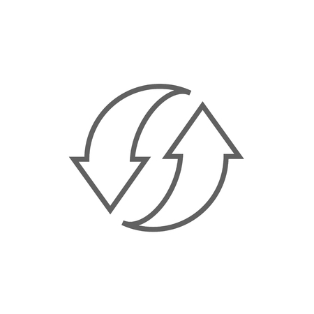 circling: Two circular arrows thick line icon with pointed corners and edges for web, mobile and infographics. Vector isolated icon.