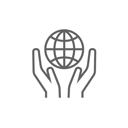 hands holding globe: Two hands holding globe line icon for web, mobile and infographics. Vector dark grey icon isolated on white background.