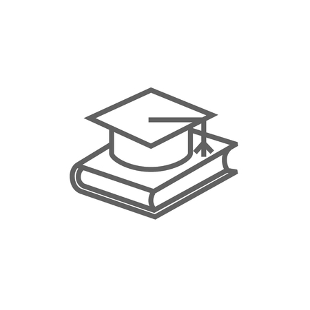 laying: Graduation cap laying on book line icon for web, mobile and infographics. Vector dark grey icon isolated on white background.