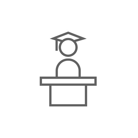 Graduate standing near tribune thick line icon with pointed corners and edges for web, mobile and infographics. Vector isolated icon.