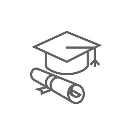 white background: Graduation cap with paper scroll line icon for web, mobile and infographics. Vector dark grey icon isolated on white background.