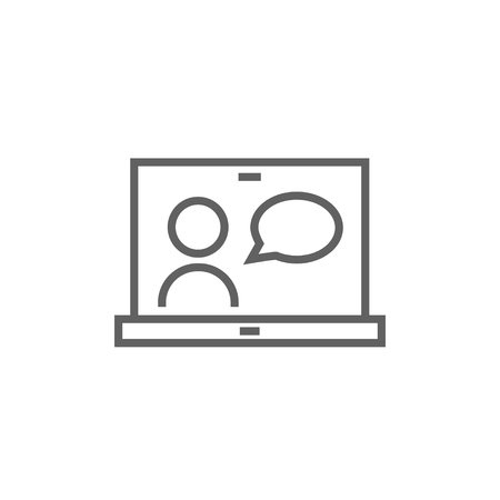 chat online: Video chat online thick line icon with pointed corners and edges for web, mobile and infographics. Vector isolated icon.