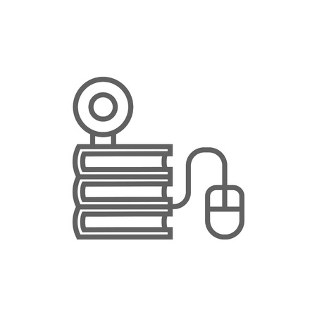 e books: Computer mouse connected to a stack of books with webcam on it thick line icon with pointed corners and edges for web, mobile and infographics. Vector isolated icon.