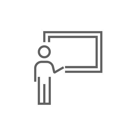 Profesor que señala en el icono de línea pizarra de espesor con esquinas puntiagudas y bordes para web, móvil y la infografía. aislado vector icono.