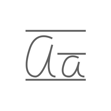 Cursive letter a thick line icon with pointed corners and edges for web, mobile and infographics. Vector isolated icon.