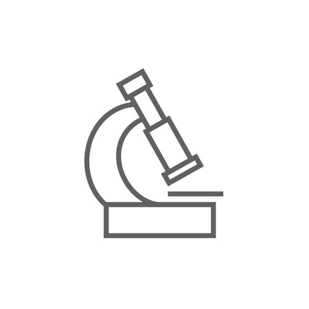 enlargement: Microscope thick line icon with pointed corners and edges for web, mobile and infographics. Vector isolated icon.