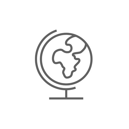 flat earth: World globe on stand line icon for web, mobile and infographics. Vector dark grey icon isolated on white background.