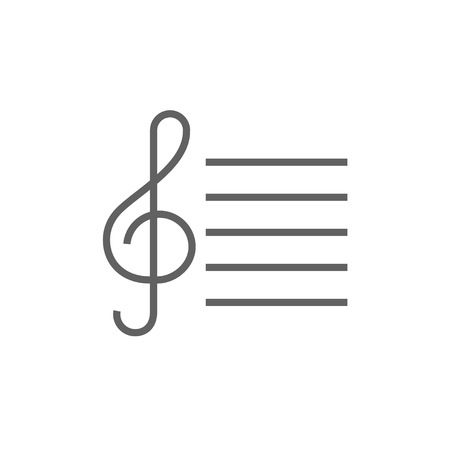 g clefs: Treble clef thick line icon with pointed corners and edges for web, mobile and infographics. Vector isolated icon.