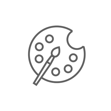 Paint brush with palette line icon for web, mobile and infographics. Vector dark grey icon isolated on white background.