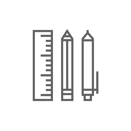 ball pens stationery: School supplies thick line icon with pointed corners and edges for web, mobile and infographics. Vector isolated icon.