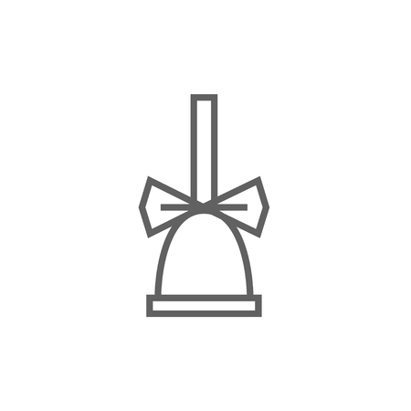 School bell with ribbon thick line icon with pointed corners and edges for web, mobile and infographics. Vector isolated icon.
