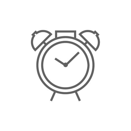 Alarm clock line icon for web, mobile and infographics. Vector dark grey icon isolated on white background.