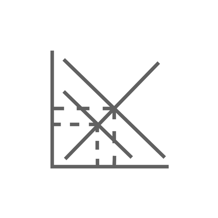 Mathematical graph thick line icon with pointed corners and edges for web, mobile and infographics. Vector isolated icon.