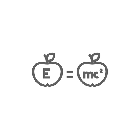 Two apples with formulae thick line icon with pointed corners and edges for web, mobile and infographics. Vector isolated icon. Illustration