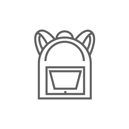 haversack: Backpack line icon for web, mobile and infographics. Vector dark grey icon isolated on white background. Illustration