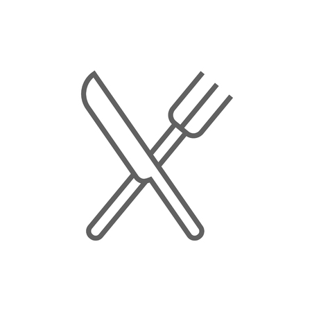 meat chopper: Crossed  knife and fork line icon for web, mobile and infographics. Vector dark grey icon isolated on white background.