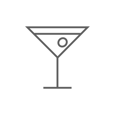 non alcoholic: Cocktail glass thick line icon with pointed corners and edges for web, mobile and infographics. Vector isolated icon.