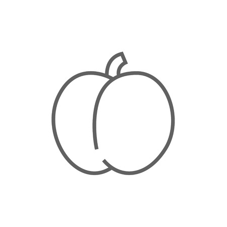 ripened: Plum with leaf thick line icon with pointed corners and edges for web, mobile and infographics. Vector isolated icon. Illustration