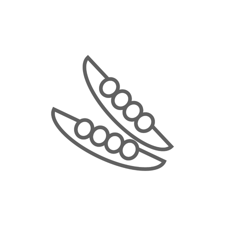 Peapod line icon for web, mobile and infographics. Vector dark grey icon isolated on white background. Stock Illustratie
