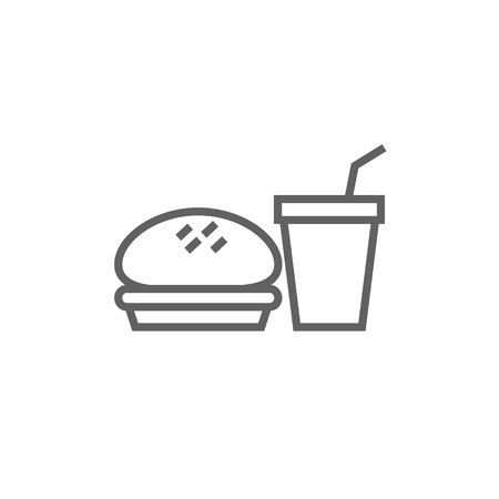Fast food meal thick line icon with pointed corners and edges for web, mobile and infographics. Vector isolated icon.