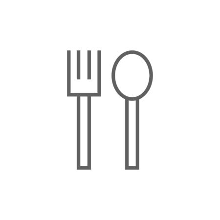 meat chopper: Spoon and fork thick line icon with pointed corners and edges for web, mobile and infographics. Vector isolated icon. Illustration