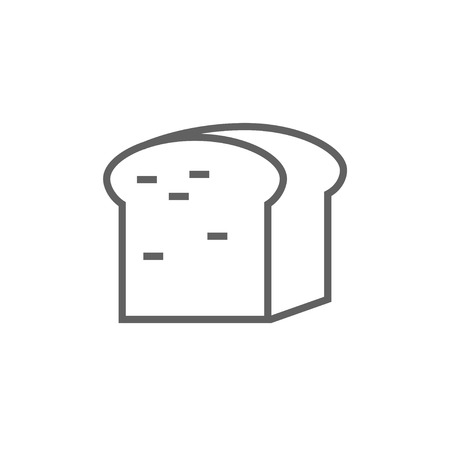 wholemeal: Half of bread thick line icon with pointed corners and edges for web, mobile and infographics. Vector isolated icon.