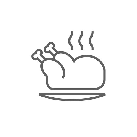 whole chicken: Baked whole chicken thick line icon with pointed corners and edges for web, mobile and infographics. Vector isolated icon.