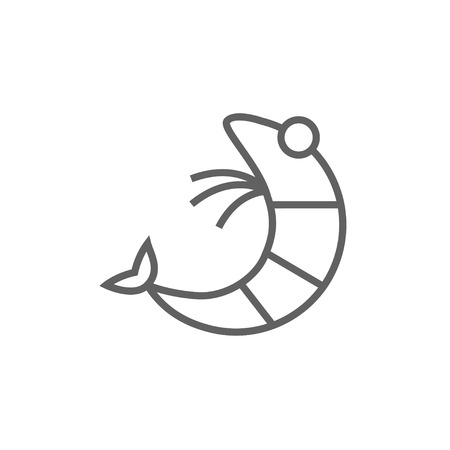 krill: Shrimp thick line icon with pointed corners and edges for web, mobile and infographics. Vector isolated icon. Illustration