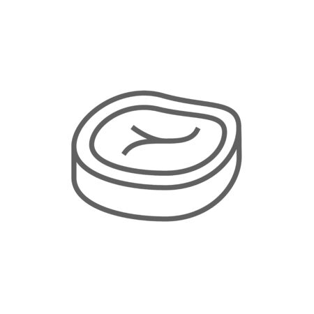 t bone steak: Steak line icon for web, mobile and infographics. Vector dark grey icon isolated on white background.