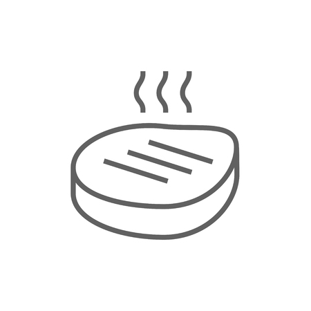 Grilled steak line icon for web, mobile and infographics. Vector dark grey icon isolated on white background.
