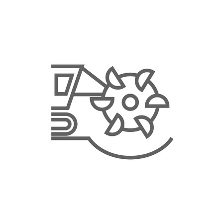 Coal machine with rotating cutting drum line icon for web, mobile and infographics. Vector dark grey icon isolated on white background.