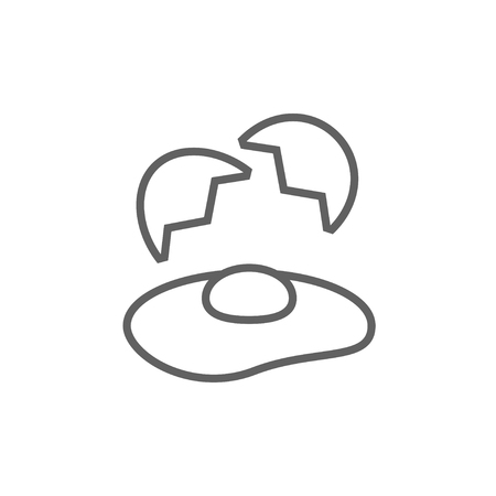 Broken egg and shells thick line icon with pointed corners and edges for web, mobile and infographics. Vector isolated icon. Illustration