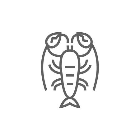 Icona linea di Lobster per il web, mobile e infografica. Vector scuro icona grigia isolato su sfondo bianco. Archivio Fotografico - 53725359