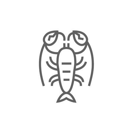 Lobster line icon for web, mobile and infographics. Vector dark grey icon isolated on white background.