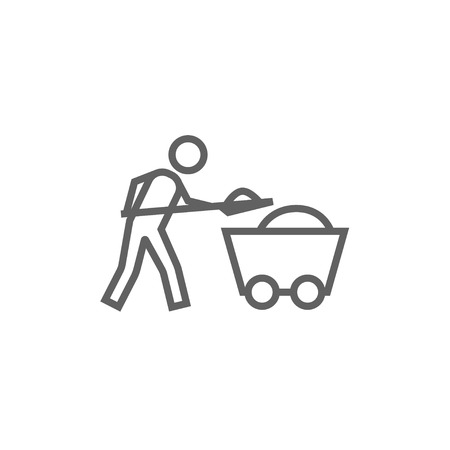 hand rails: Mining worker with trolley thick line icon with pointed corners and edges for web, mobile and infographics. Vector isolated icon. Illustration
