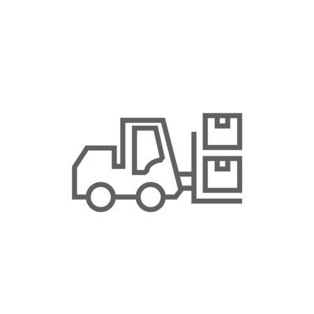 フォーク リフトの尖った角と web、モバイル、インフォ グラフィックのエッジを持つ配送ボックス太い線アイコン。ベクトル分離アイコン。