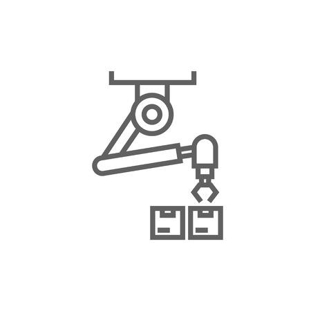 emballage robotique icône de ligne épaisse avec des coins pointus et des bords pour le web, le mobile et infographies. Vector icône isolé.